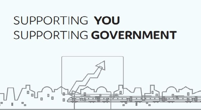 Outline of city skyline and image of graph with text saying 'supporting you, supporting government'