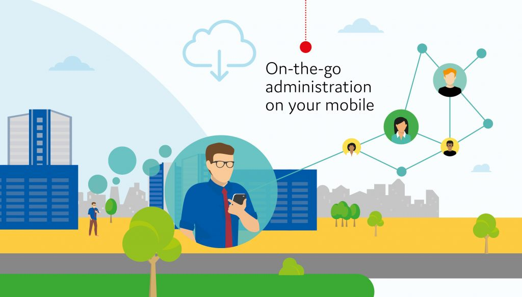 Image depicting a city with man standing looking at his mobile. Words saying 'on-the-go administration on your mobile'