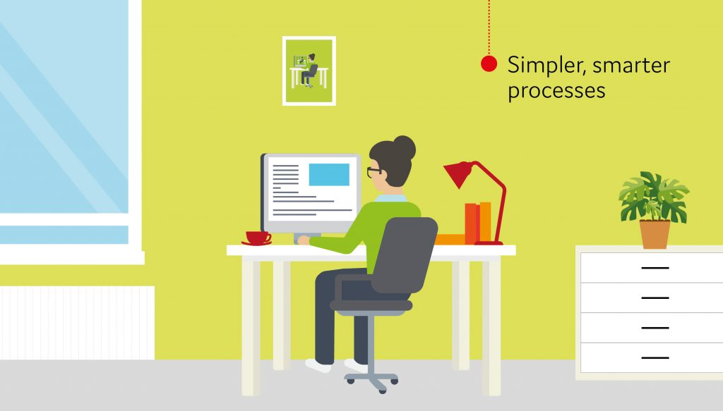 A woman at desk working on desktop computer. Text in image says 'simpler, smarter processes'.