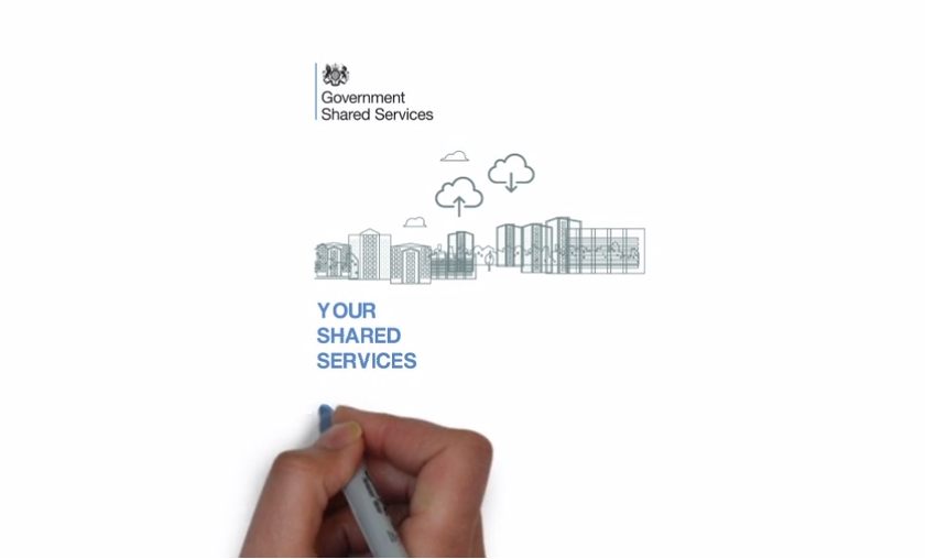 Screenshot of scene from video portraying hand drawing Government Shared Services logo, graphic and 'Your Shared Services' text